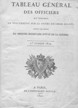 Tableau des demi-soldes, (1820)