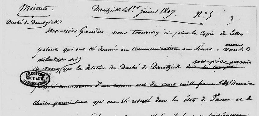 Partenariat Archives nationales : mise en ligne des minutes des lettres de Napoléon numérisées