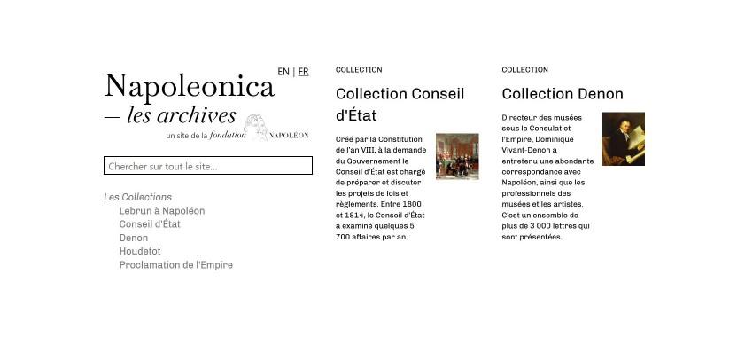 Fondation Napoléon > Napoleonica®Les Archives : une nouvelle version du site napoleonica.org
