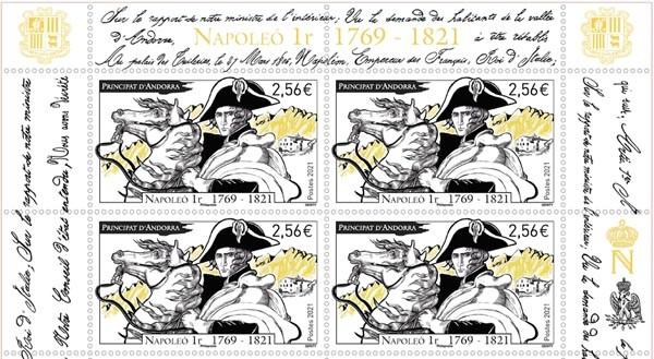 Détail du bloc de timbres émis par La Poste et la Principauté d'Andorre, pour le bicentenaire de la mort de Napoléon © La Poste 2021
